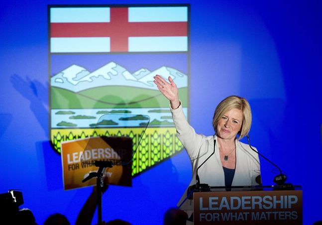 NDP leader Rachel Notley speaks on stage after being named Alberta's new Premier in Edmonton on Tuesday, May 5, 2015. THE CANADIAN PRESS/Nathan Denette (Brandon Sun)