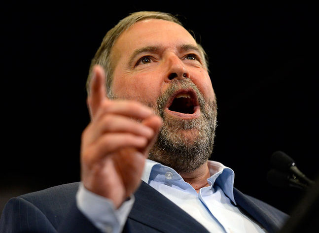 NDP Leader Tom Mulcair at a recent party rally. (The Canadian Press)