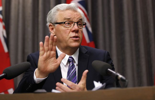 Manitoba Premier Greg Selinger responds to questions about the throne speech at a press conference at the legislature in Winnipeg on Monday.
