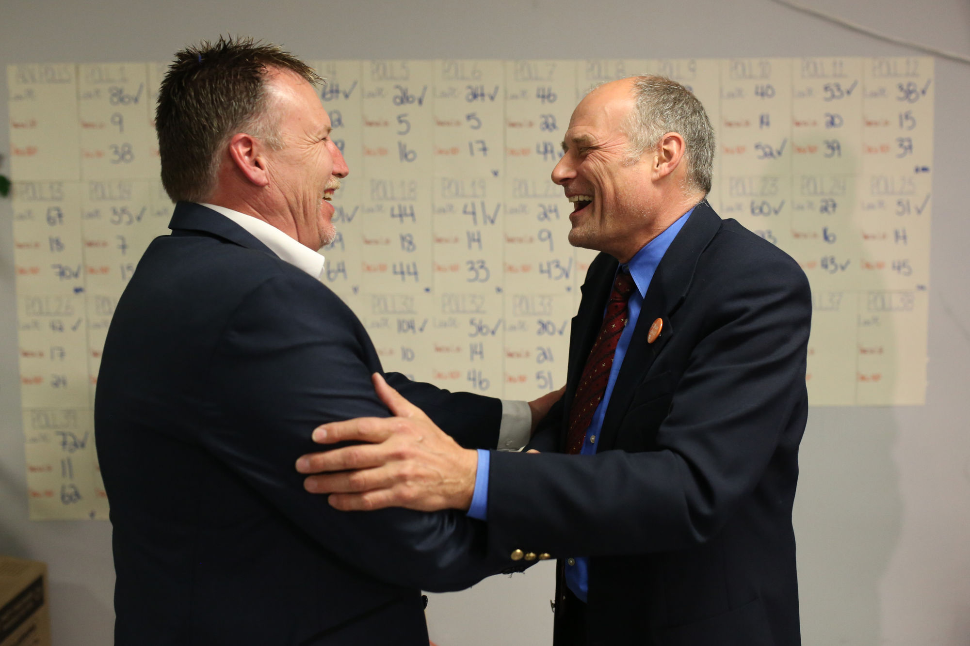 Former MLA Drew Caldwell congratulates MLA elect Len Isleifson following Tuesday's historic win. - Brandon Sun. 2016