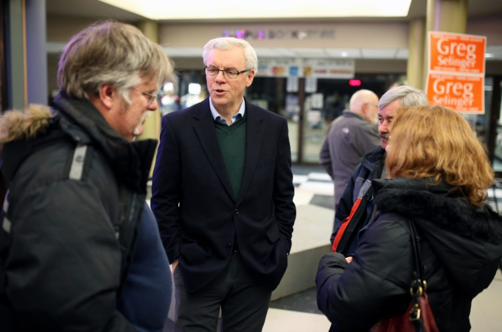 Greg Selinger in Brandon meeting with residents. Brandon Sun- File. 2015)