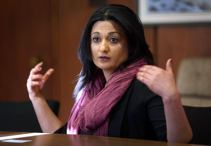 Liberal leader Rana Bokhari meets with the Brandon Sun editorial board.