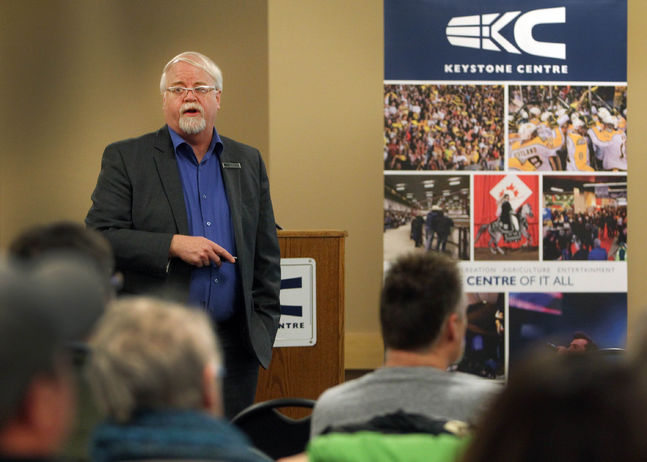 Keystone Centre general manager Neil Thomson explains plans for new additions to the centre in this 2015 photo.