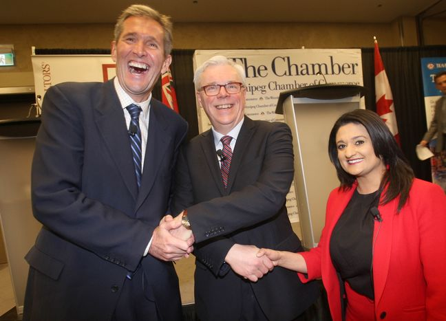 The three provincial leaders pose for a photo prior to a recent debate. Brandon Sun. 2016